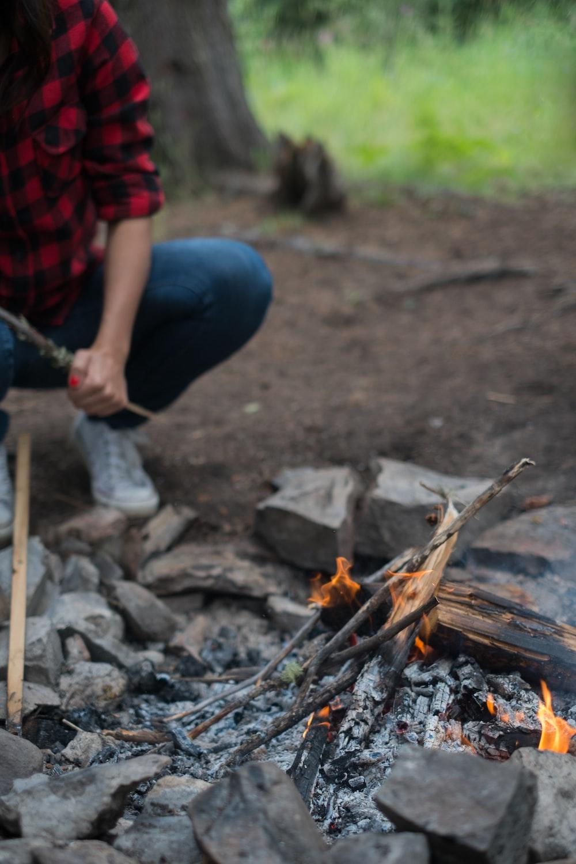 depth photography of bonfire