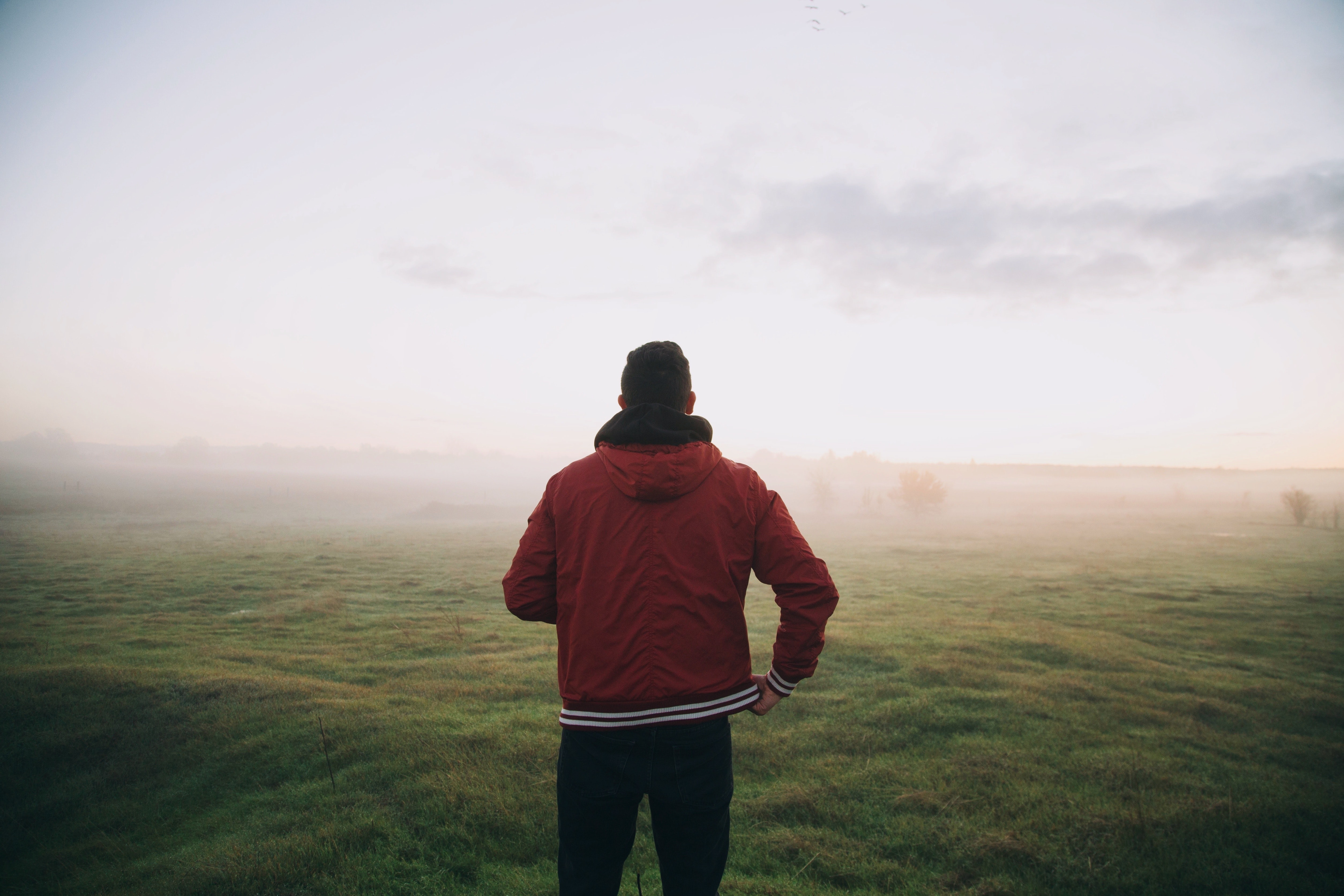 A man in a red jacket standing in a foggy green field