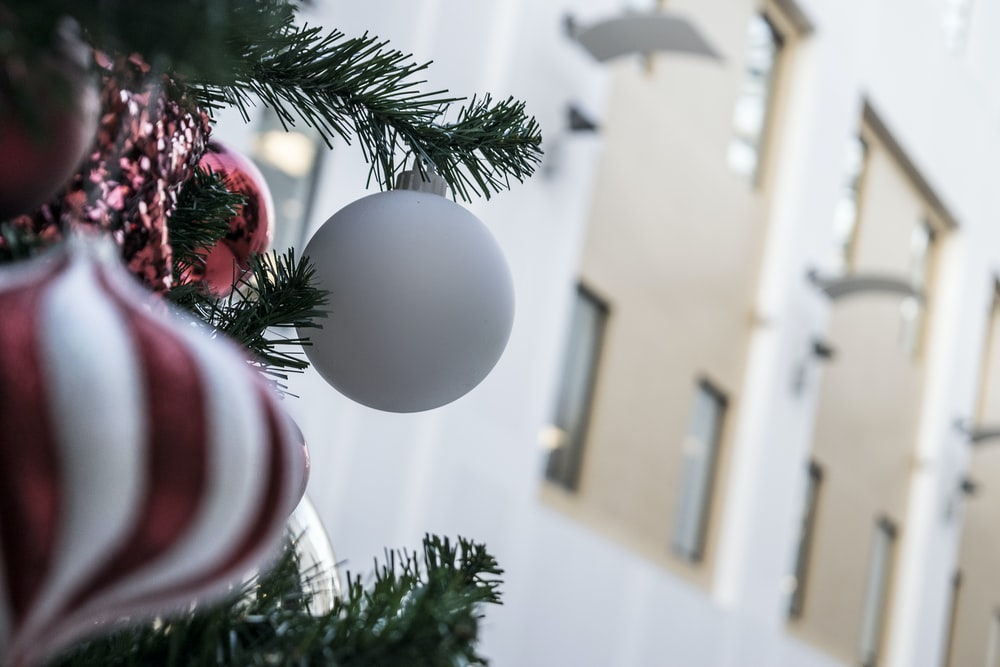 white bauble on Christmas tree