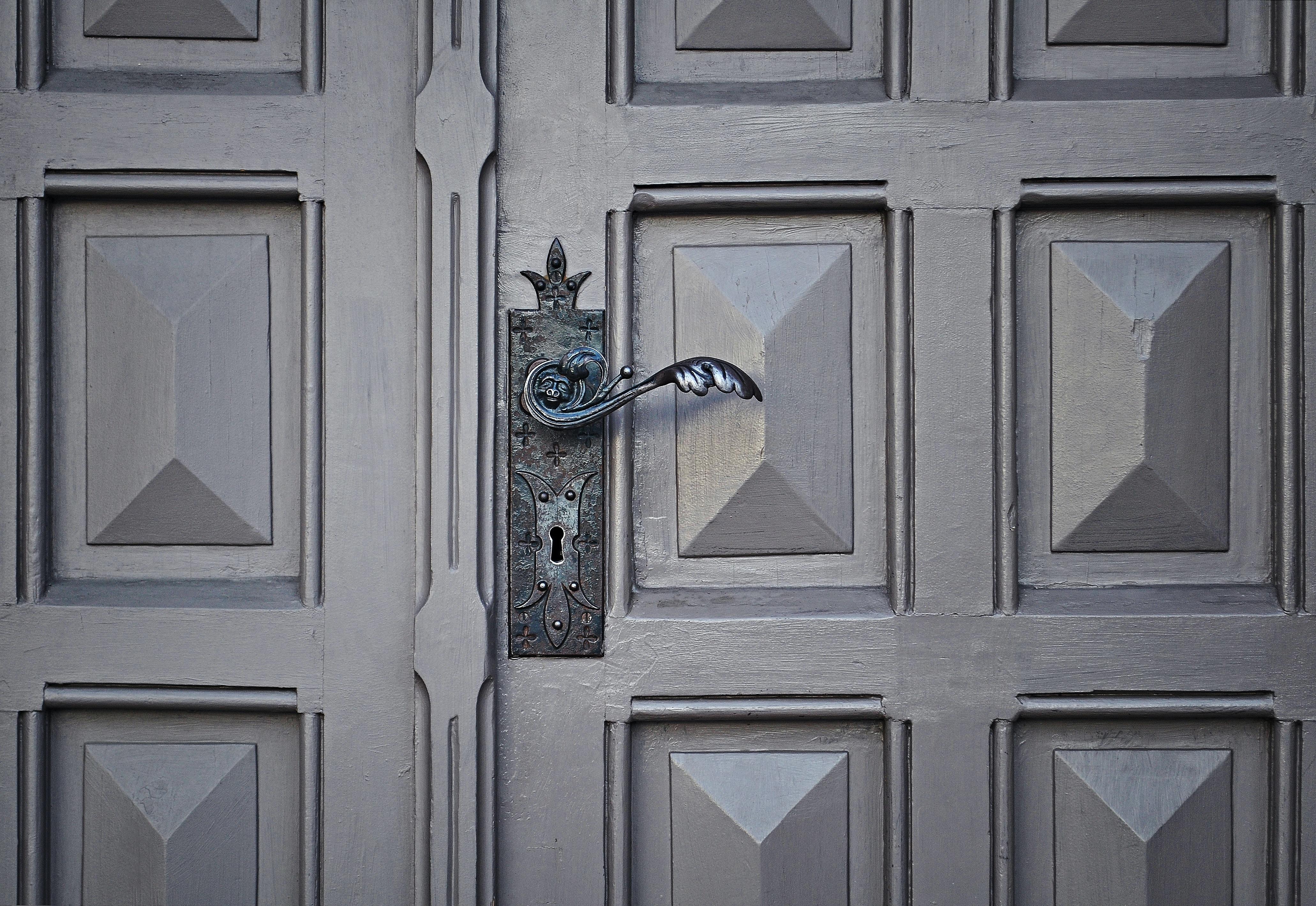 gray wooden closed door