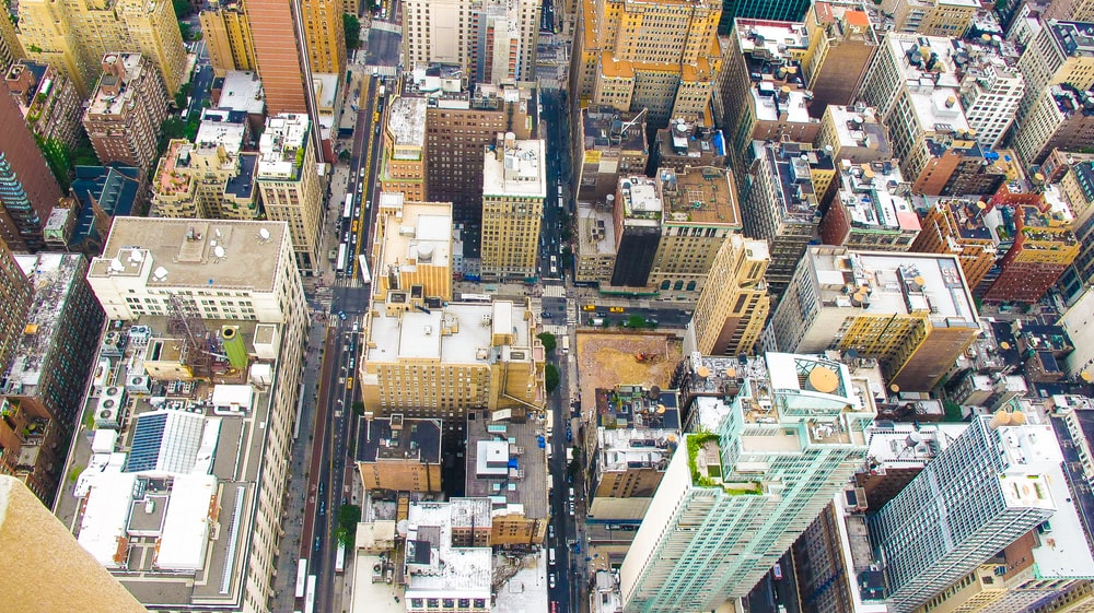areal view of buildings