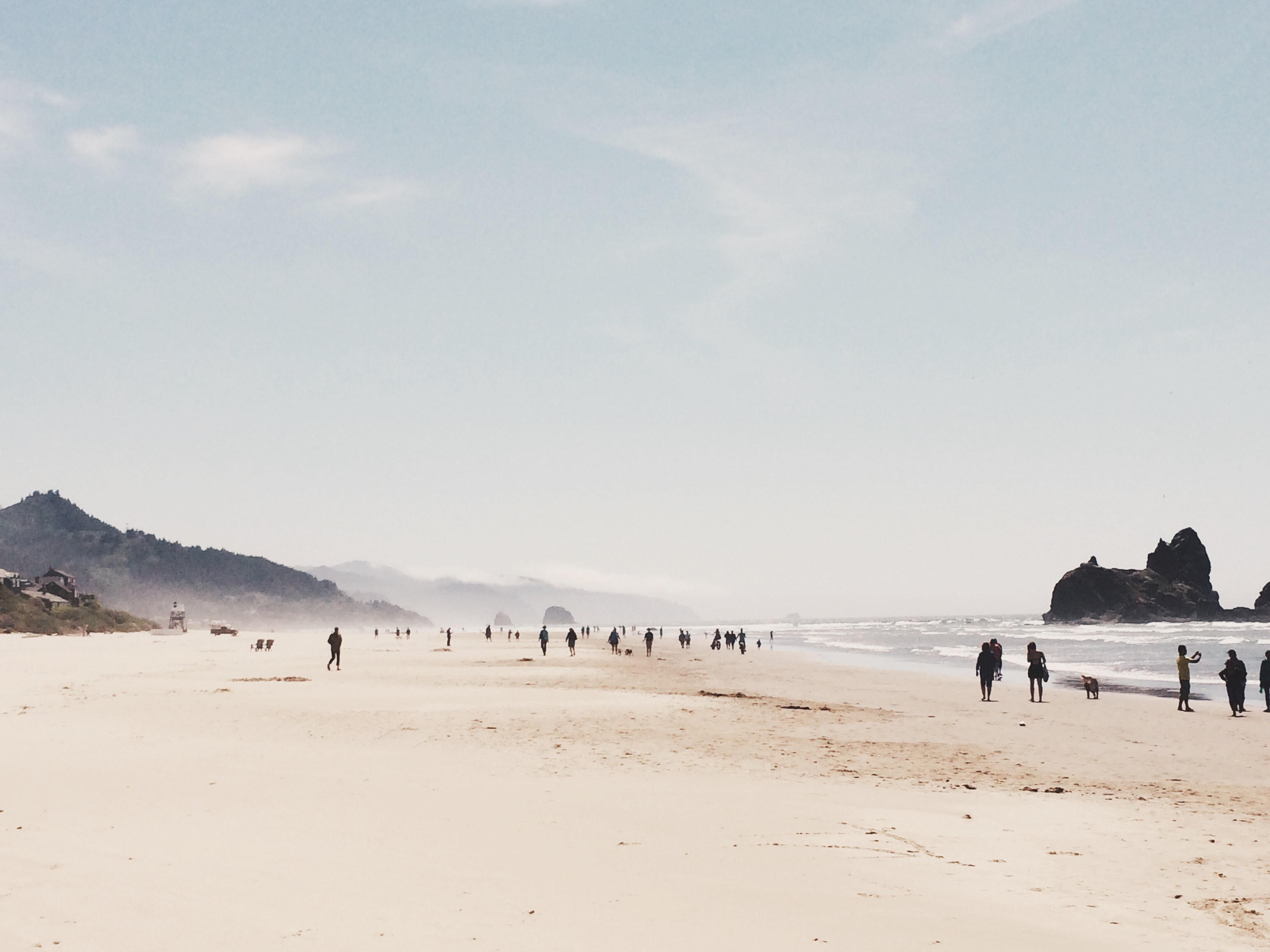People enjoying a swell leisure time on large beach shore