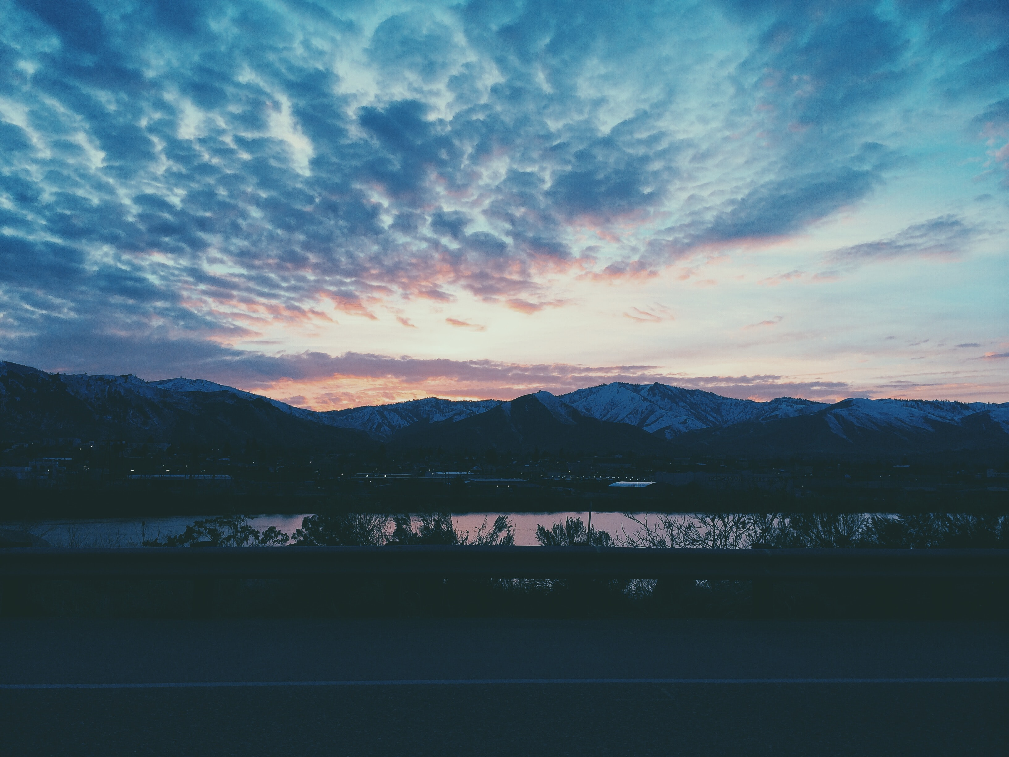 Late evening capture near the beach of East Wenatchee, United States as the city settles for the night