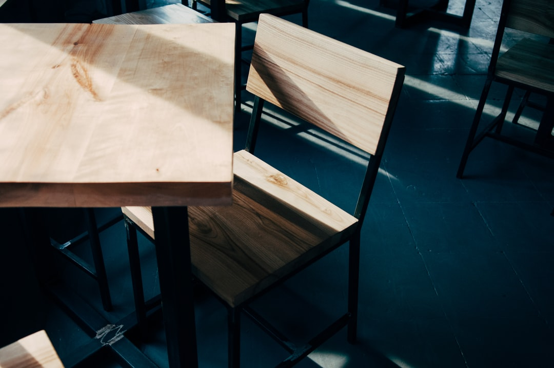 Wooden table and chair in a coffee shop