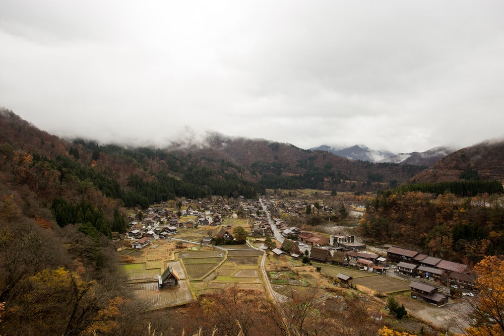 aerial view of town in mountain