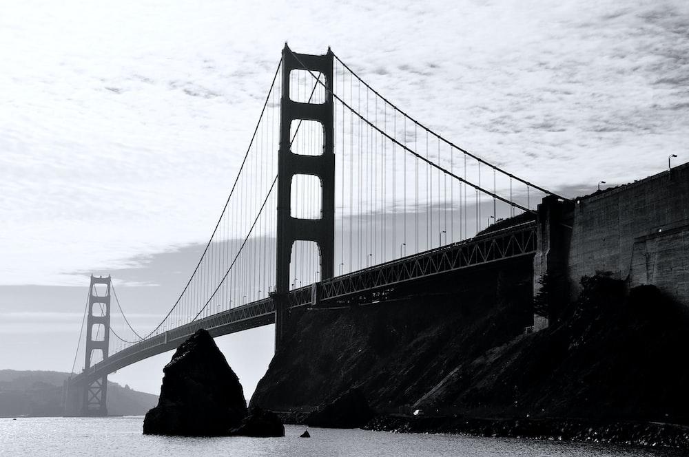 grayscale photo of Golden Gate bridge