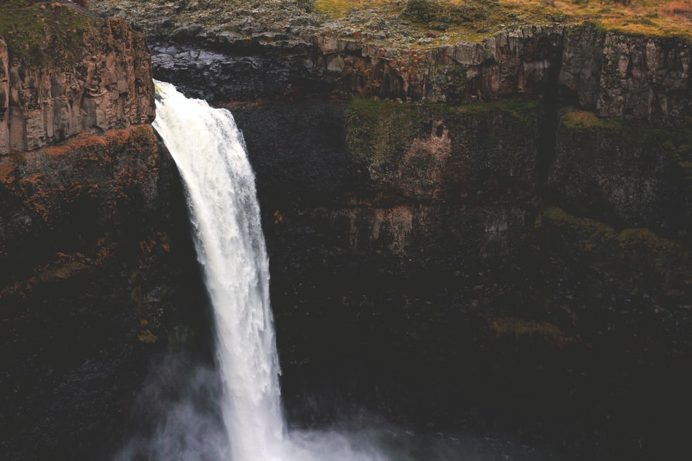 aerial photography of waterfall