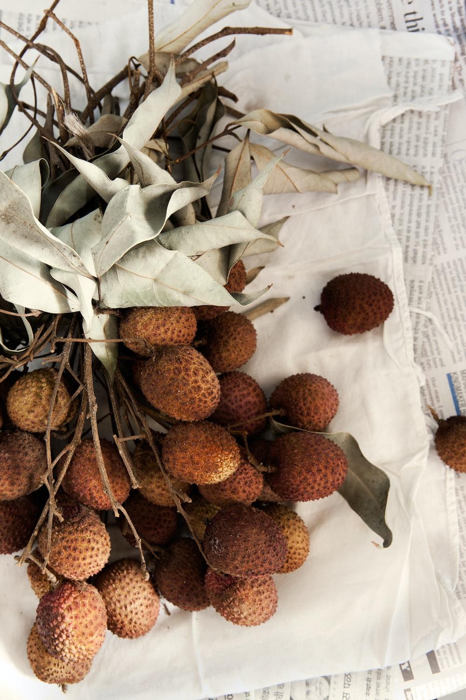 brown fruits on white textile