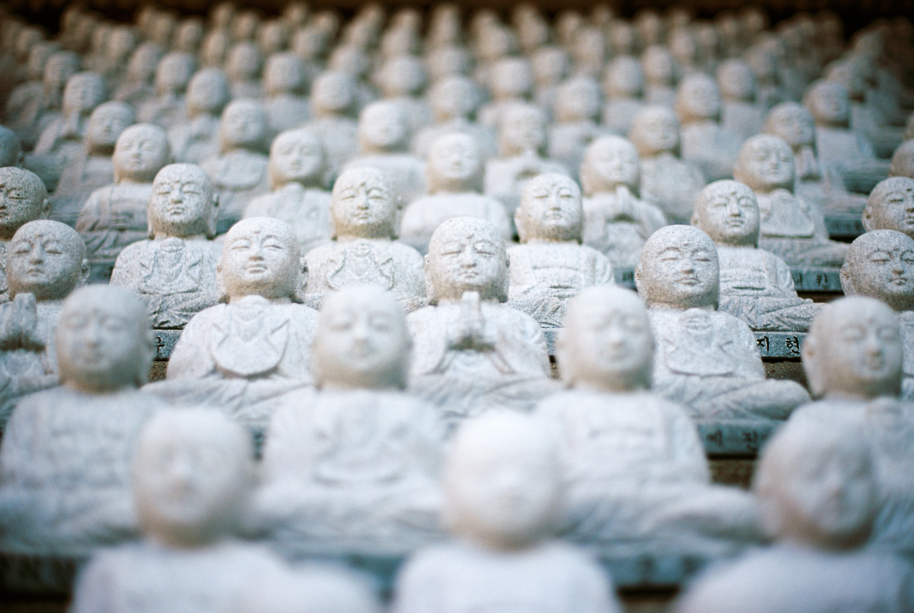 Rows of miniature stone Buddhist figurines