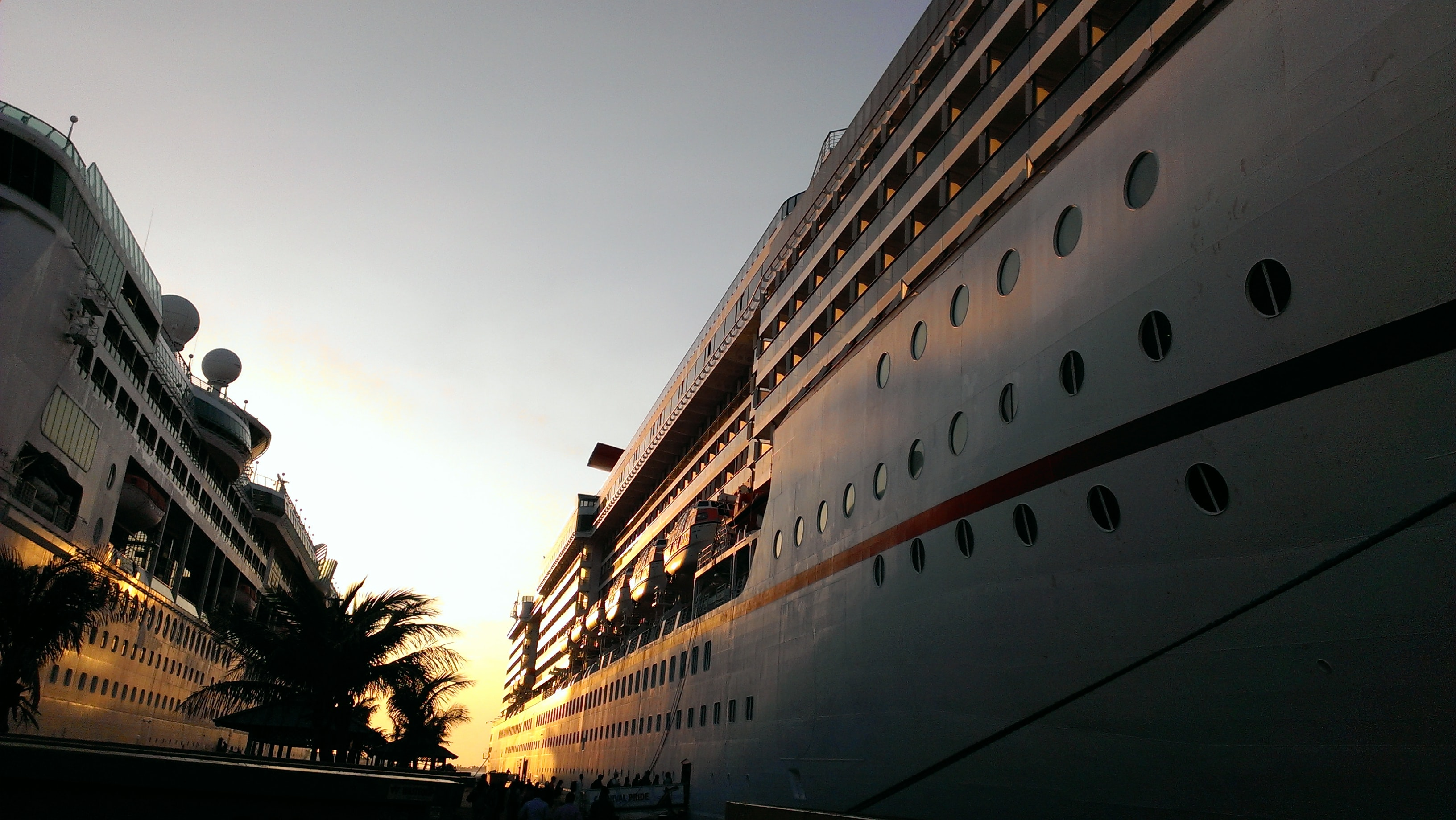 cruise ship docked during golden time