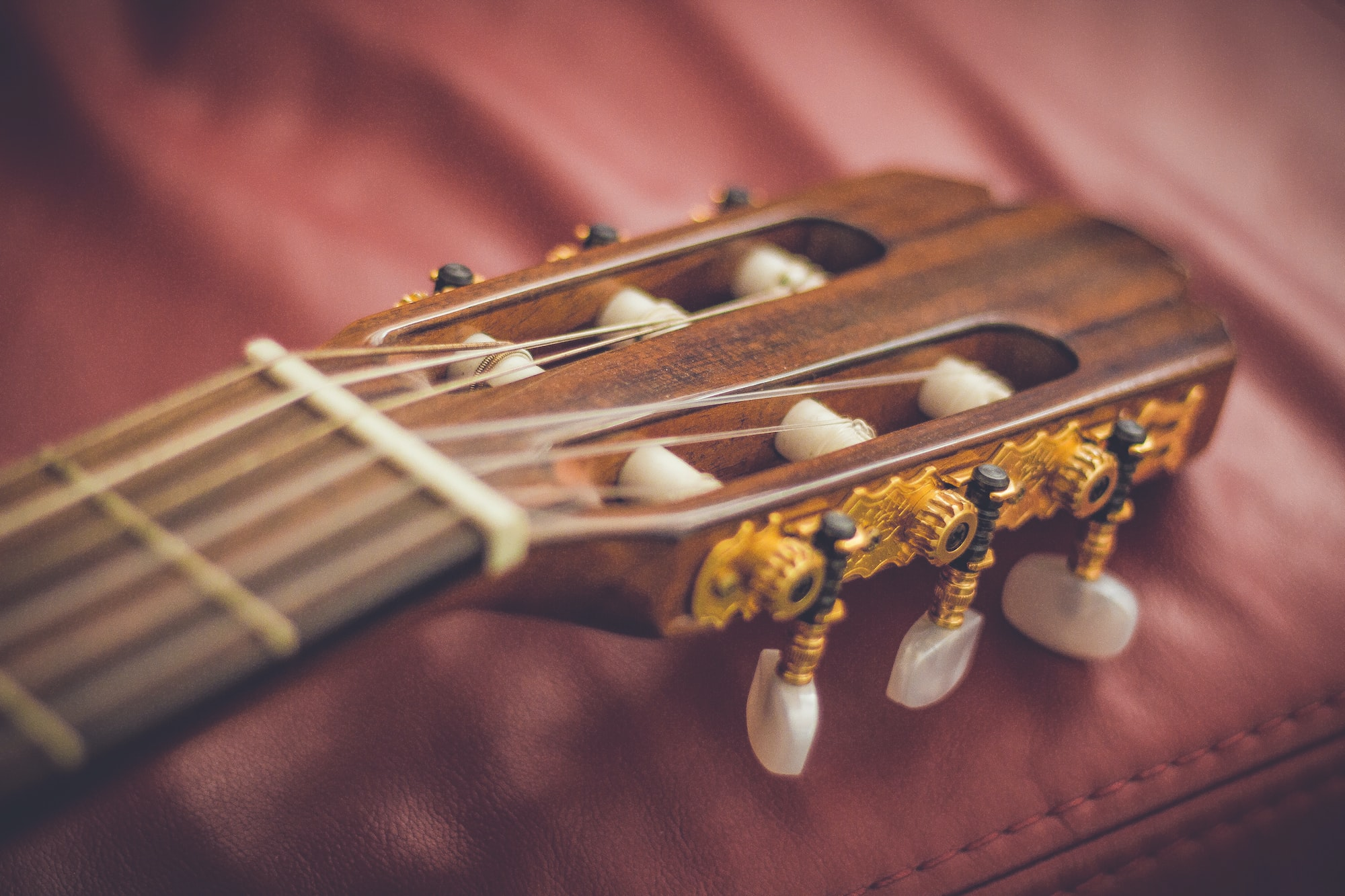 Macro of guitar frets and tuning pegs on leather surface