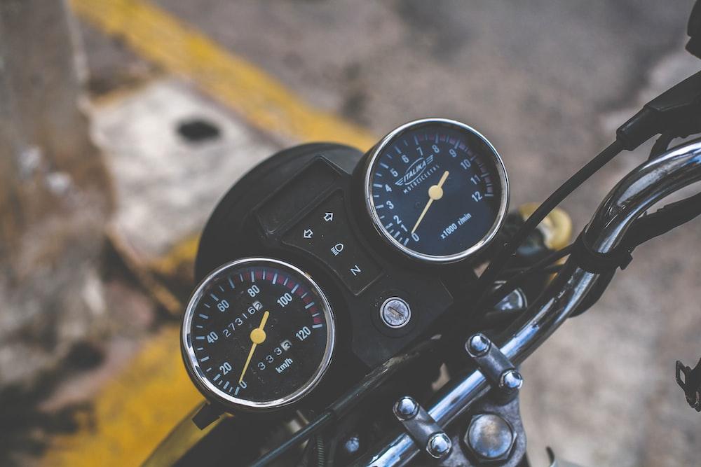 black motorcycle gauge meters