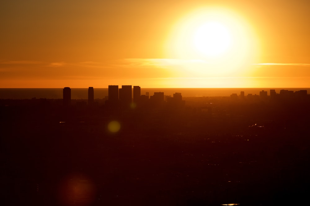 silhouette of high-rise buildings during golden hour