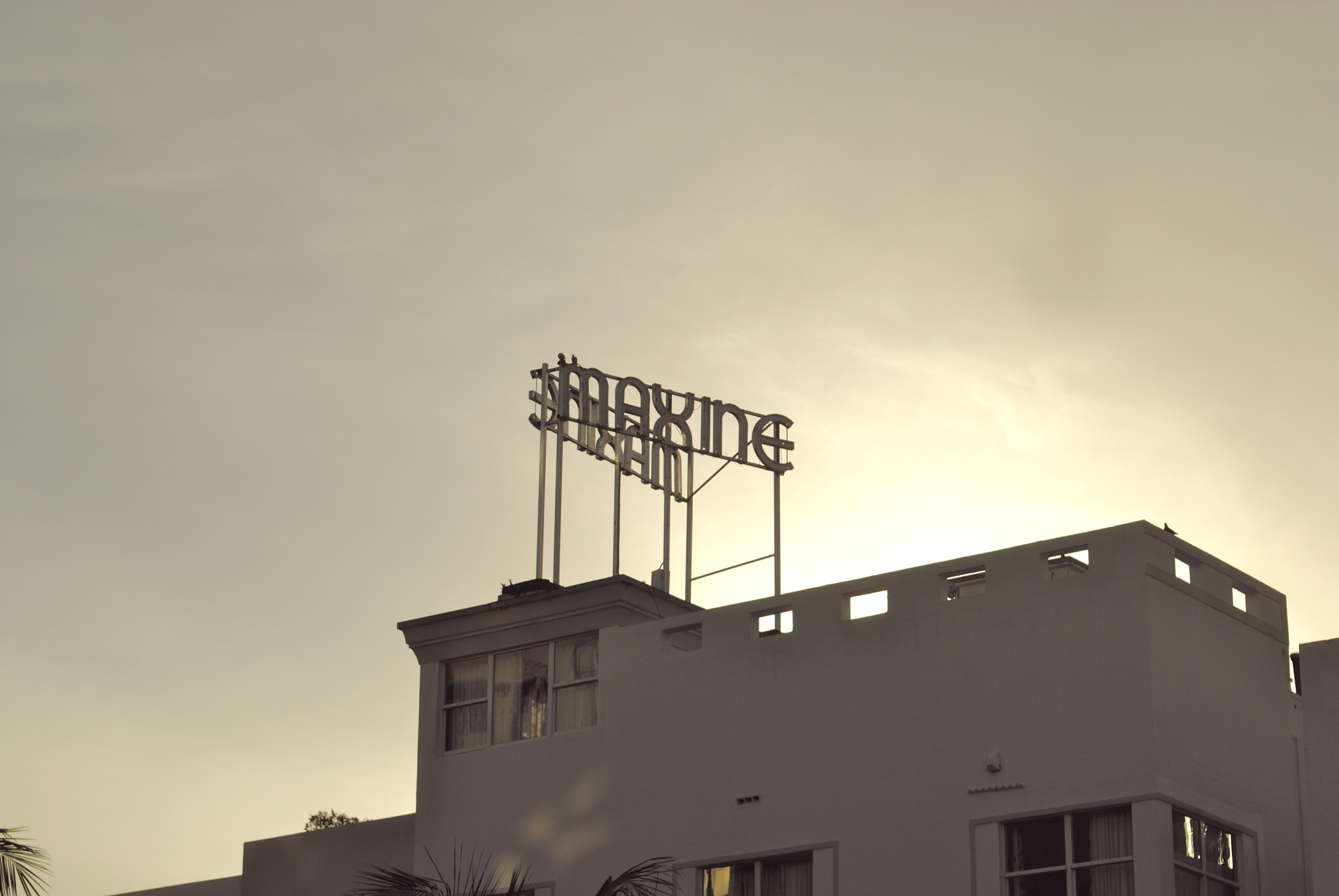 """The sign reads """"MAXINE"""" is seen on top of a building."""