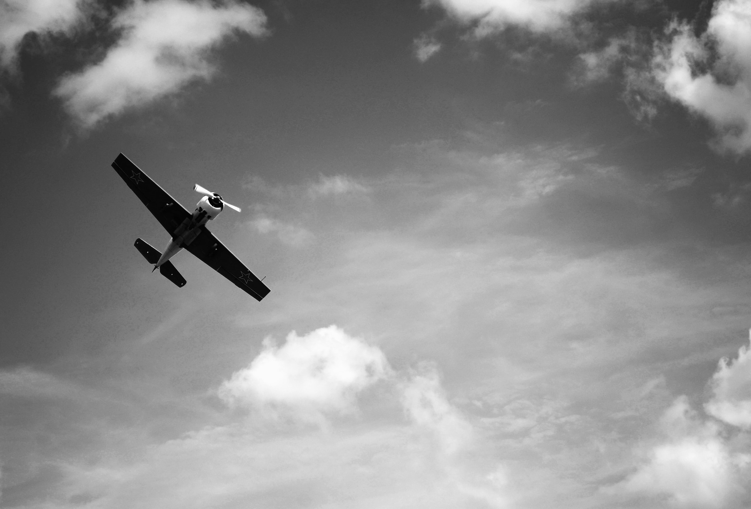 greyscale photography of plane flying