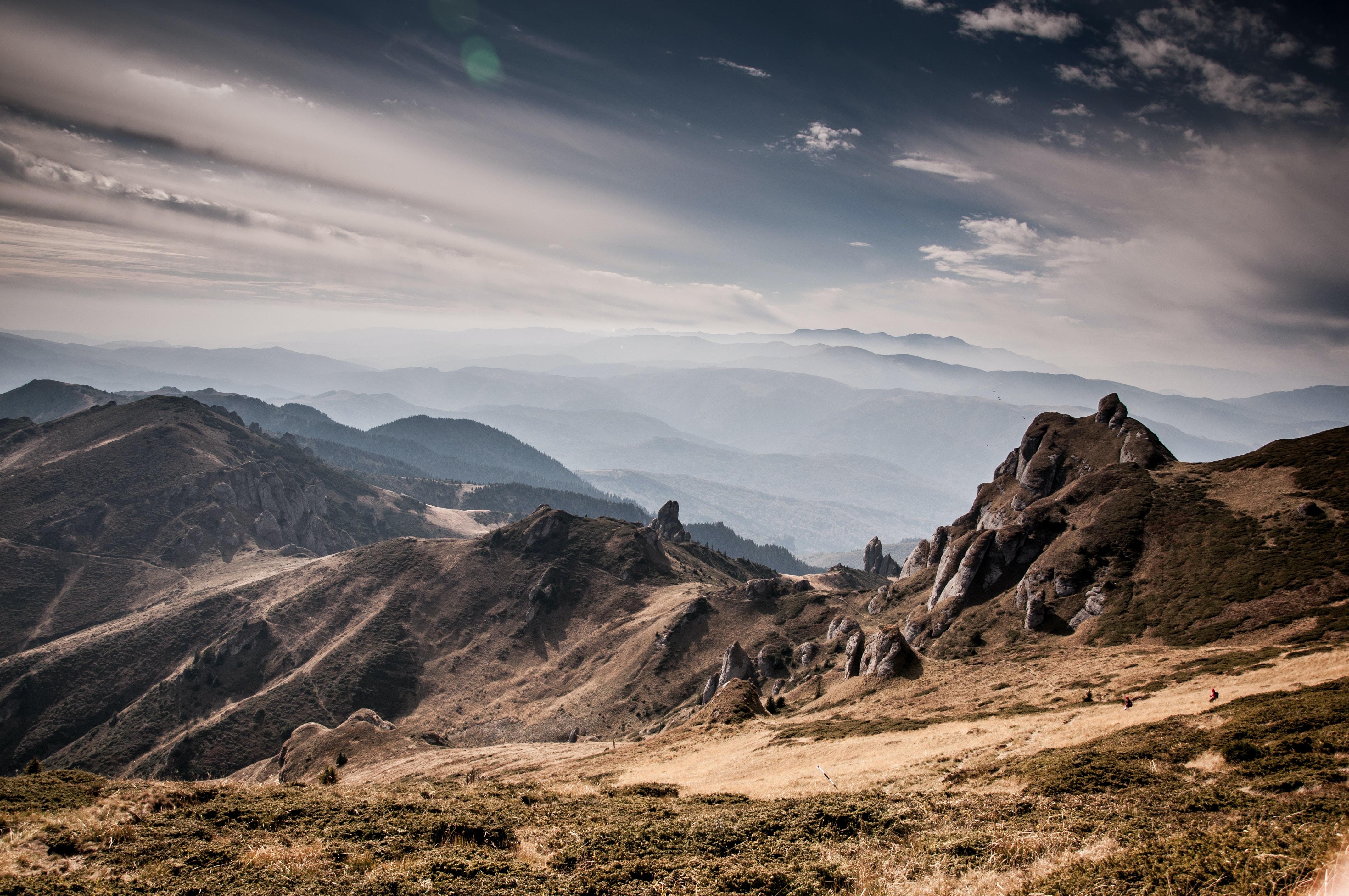 high angle photography of mountain range