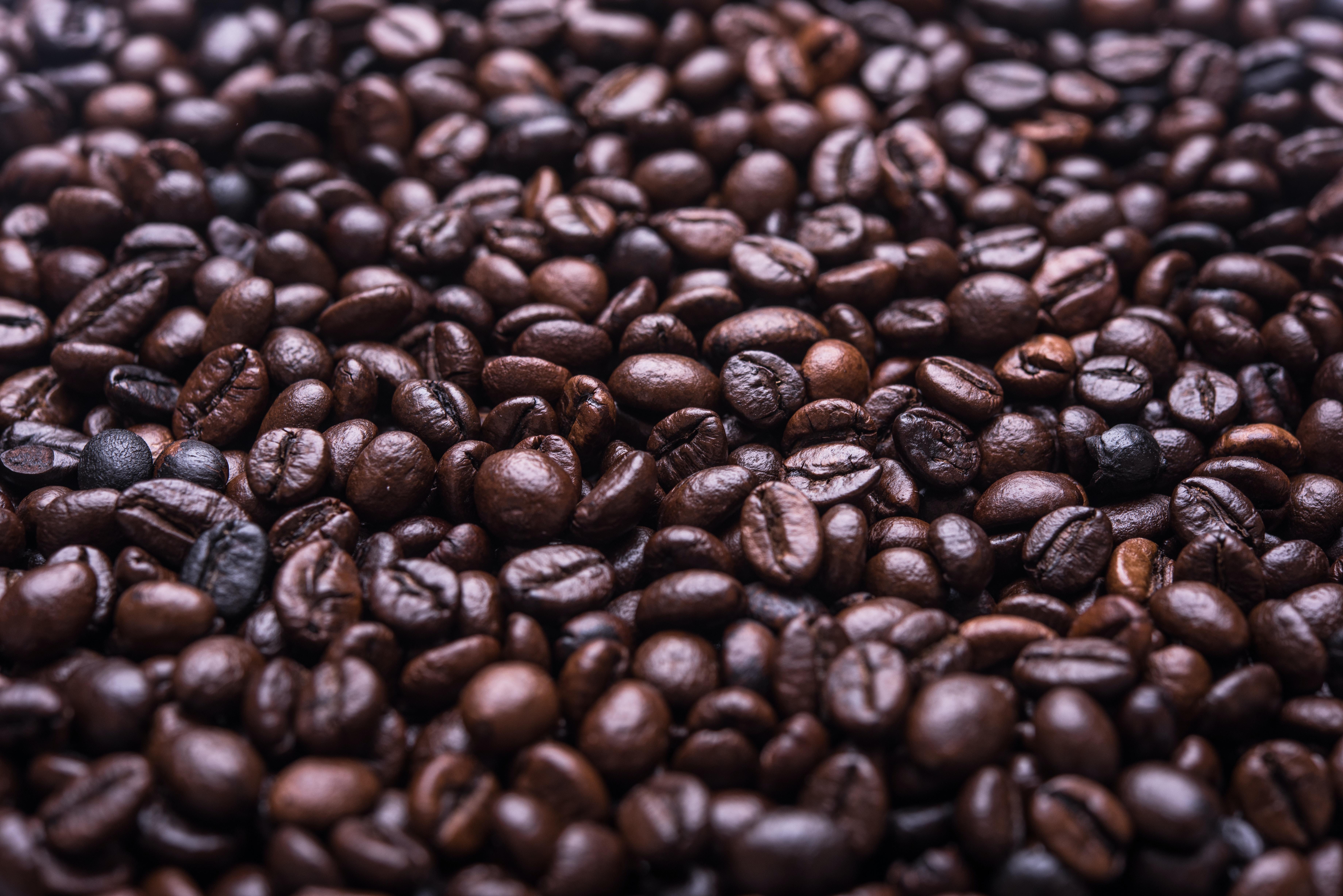 Macro view of fresh natural coffee beans