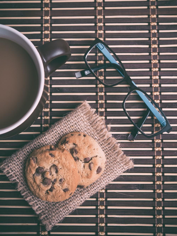 chocolate chip cookies and eyeglasses