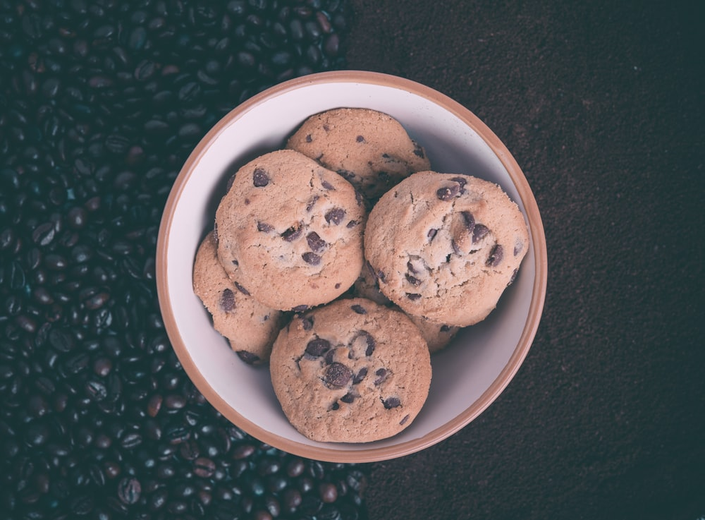 cookies in white ceramic bowl