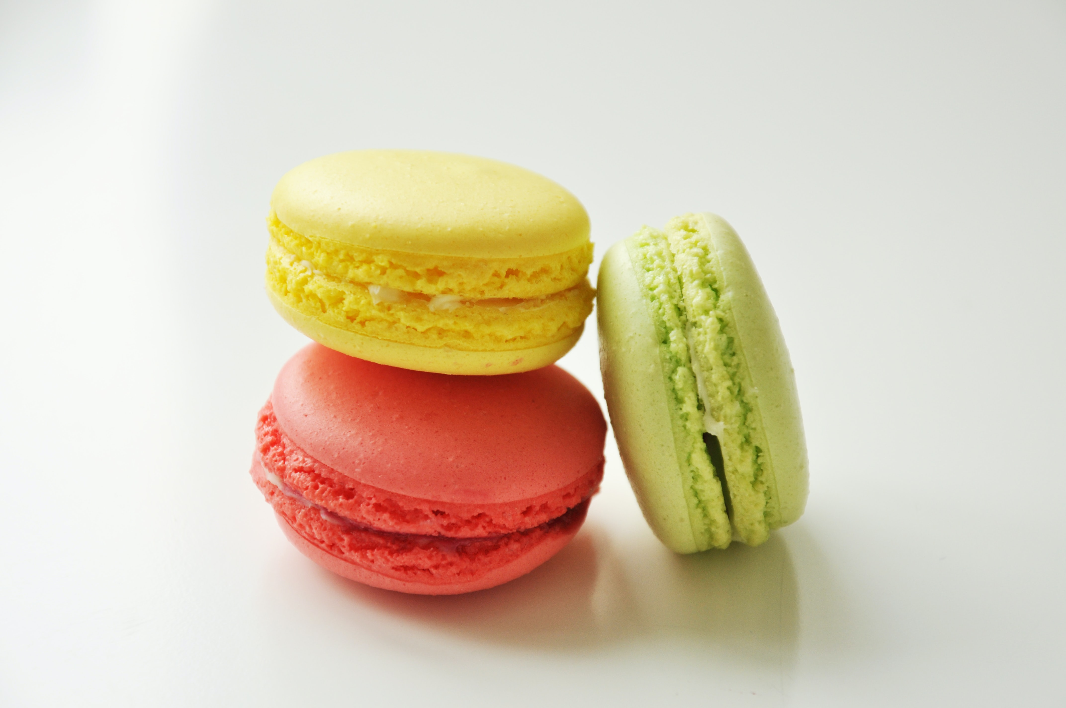 Three colorful French macarons for a tasty treat