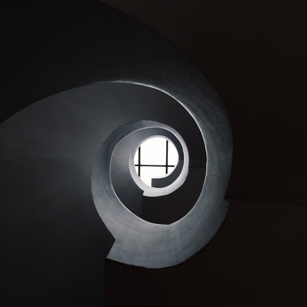 bottom view of concrete spiral stair