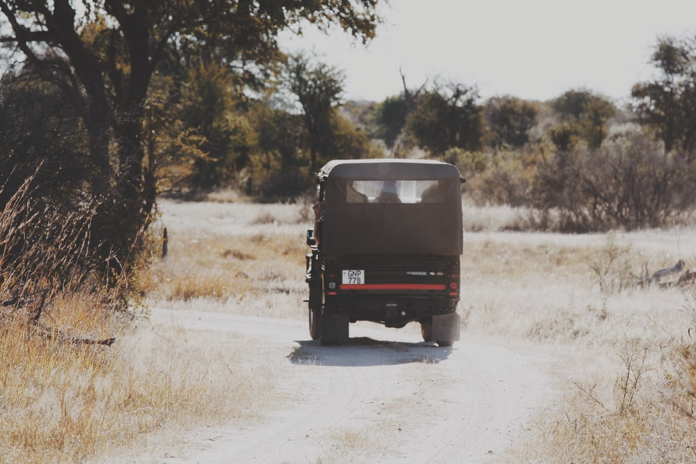 black off-road vehicle near tree