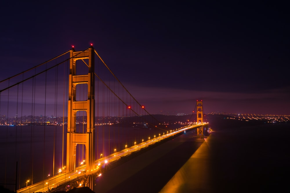 low light photography of bridge