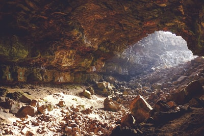 Illuminated rocky cavern