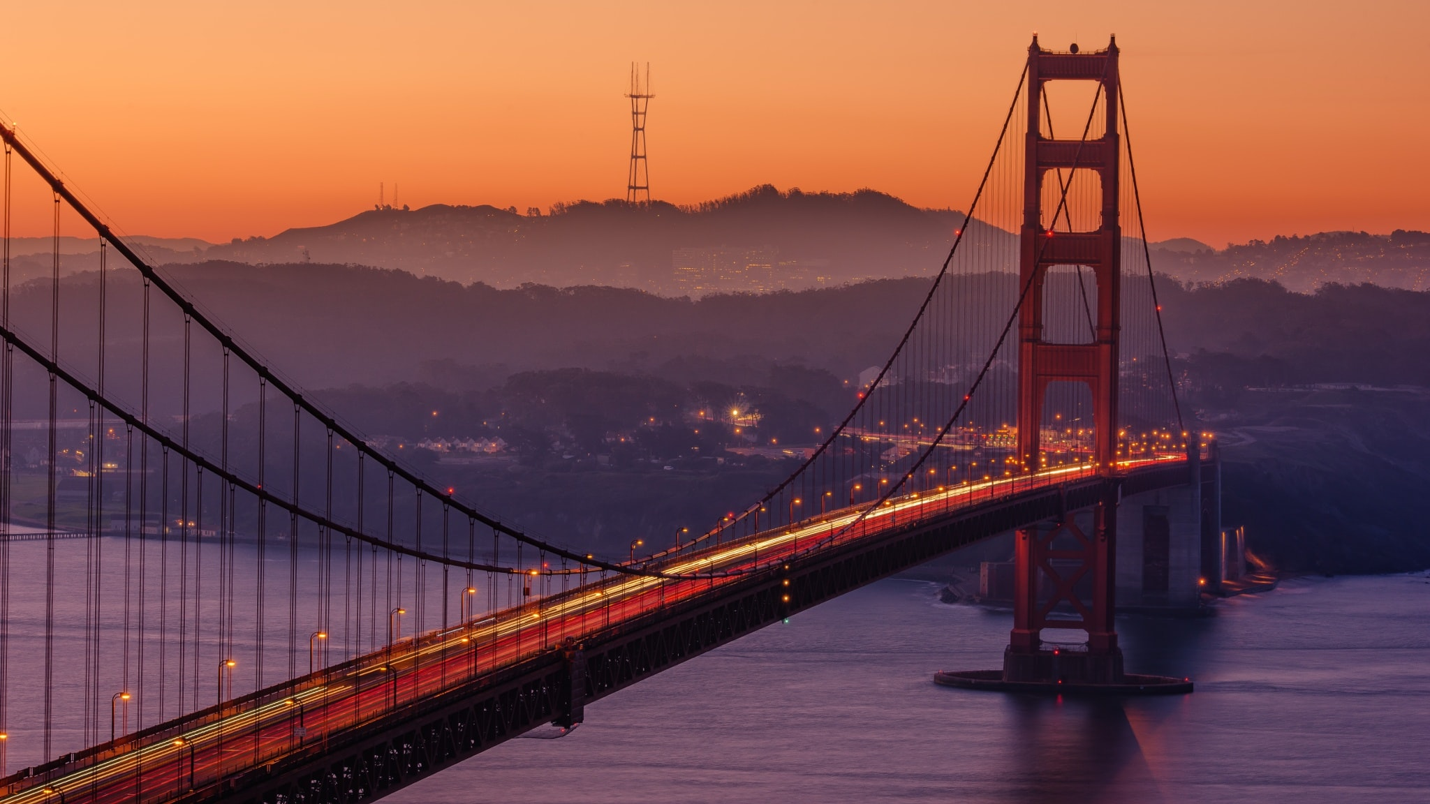 Golden Gate Bridge during sunset