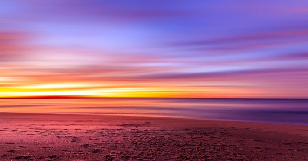 view of seashore sunset