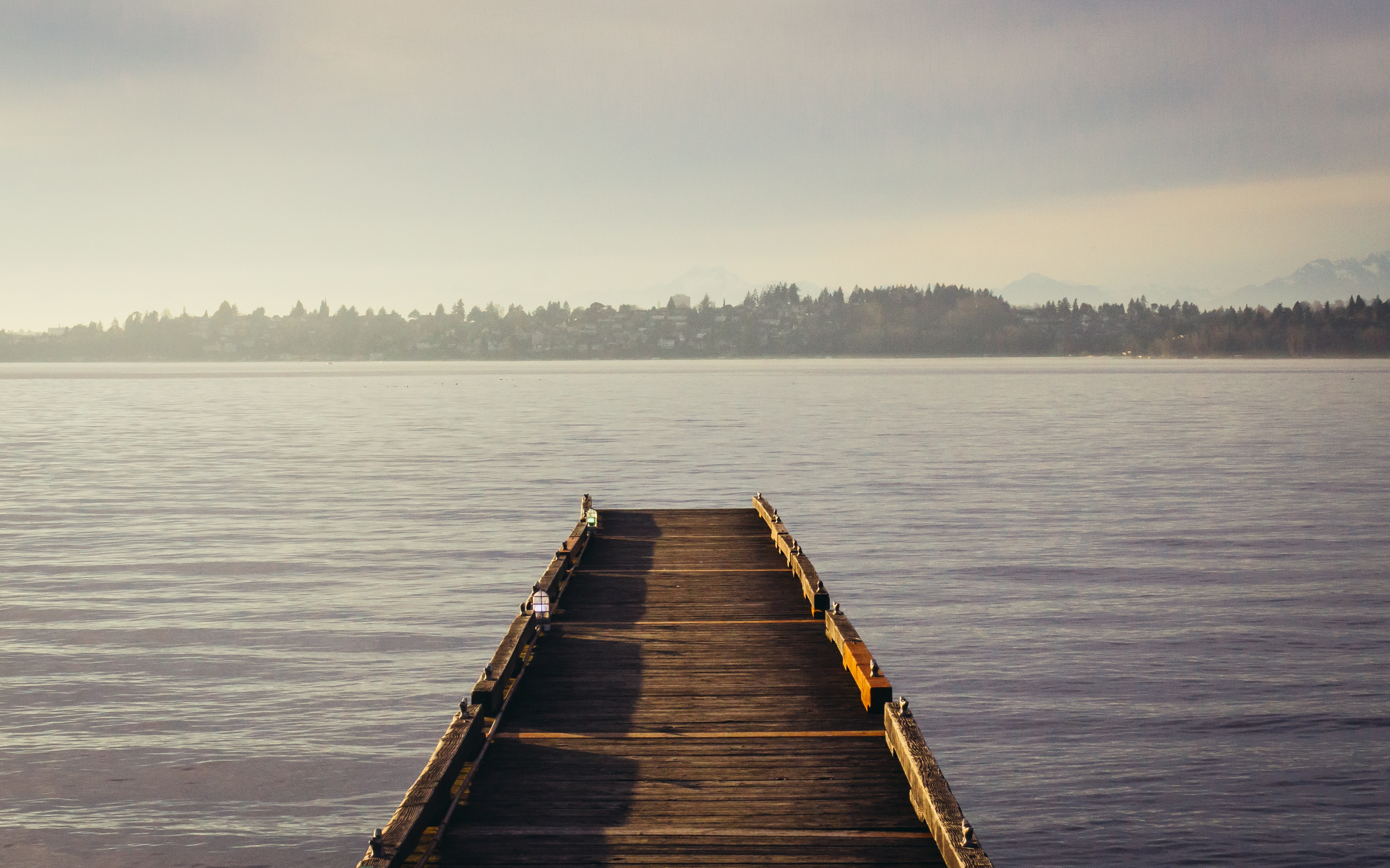 An empty wooden pier on a lake with a woody shore on the horizon