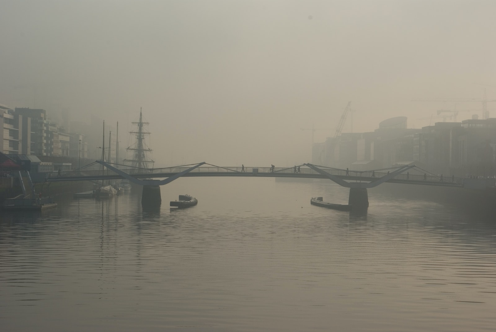 "Pentax K10D sample photo. ""Two boats below bridge"" photography"