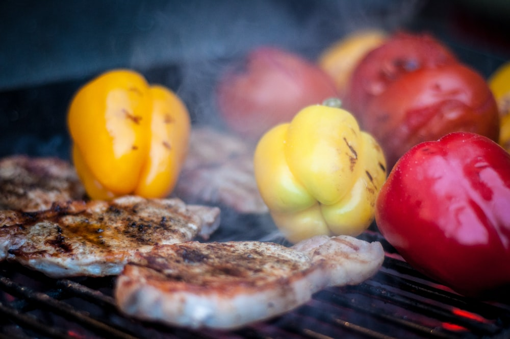 grilled meat and bell peppers