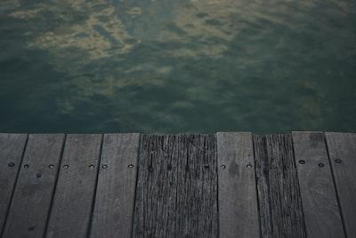 photo of gray wooden pallet seadock