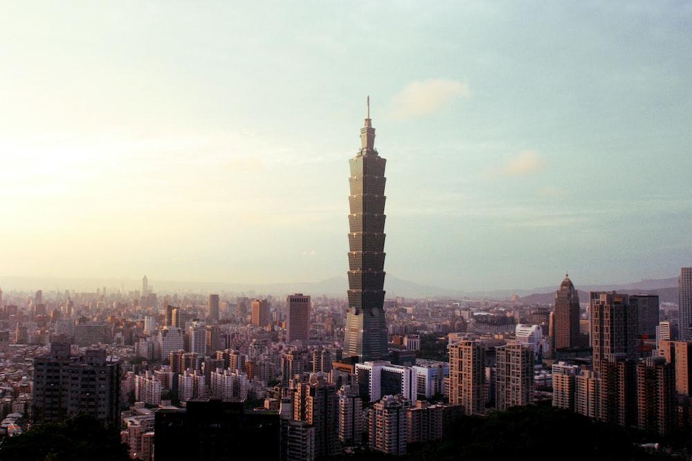 high-angle photography of city