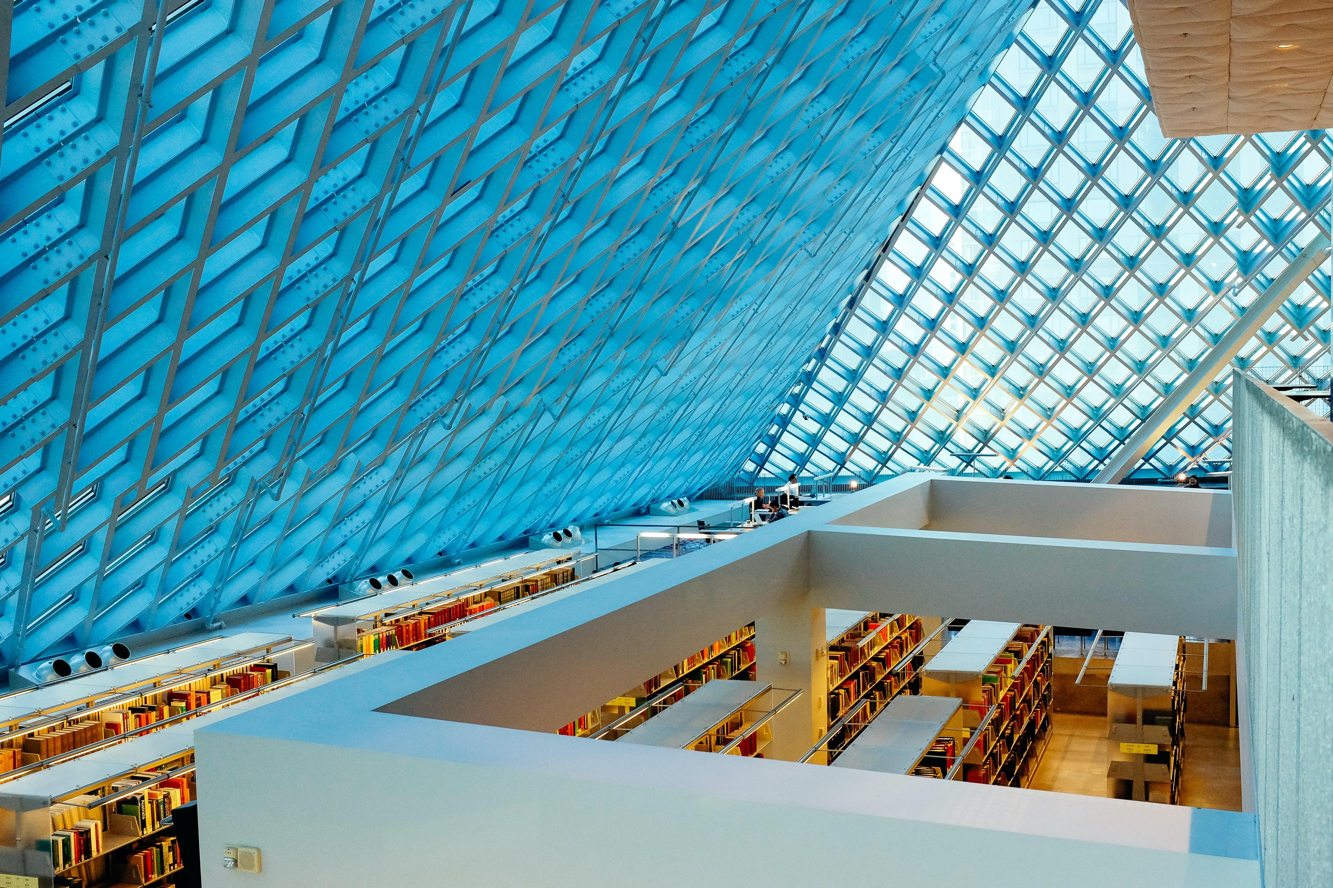 blue glass roof