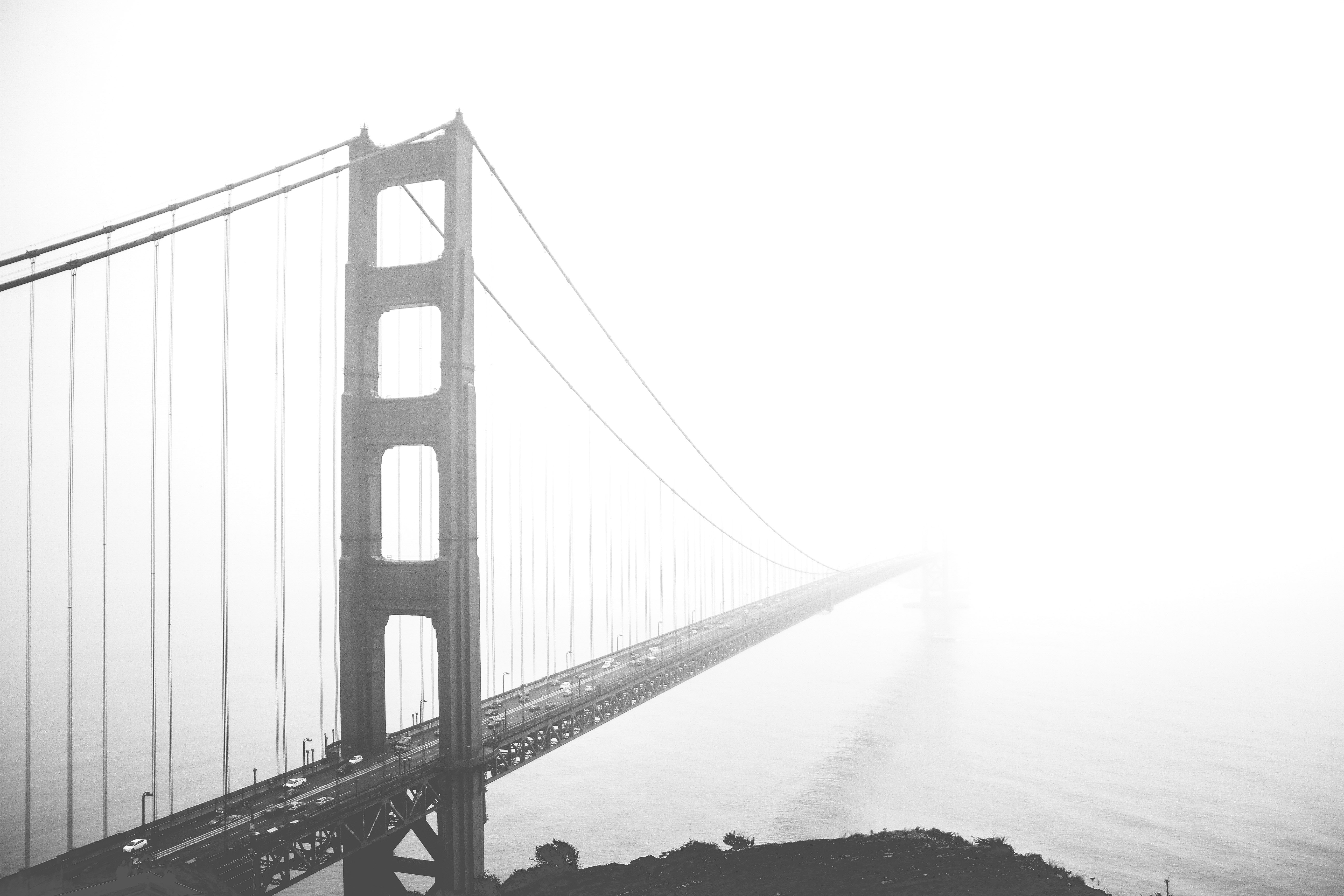 grayscale photo of Golden Gate Bridge