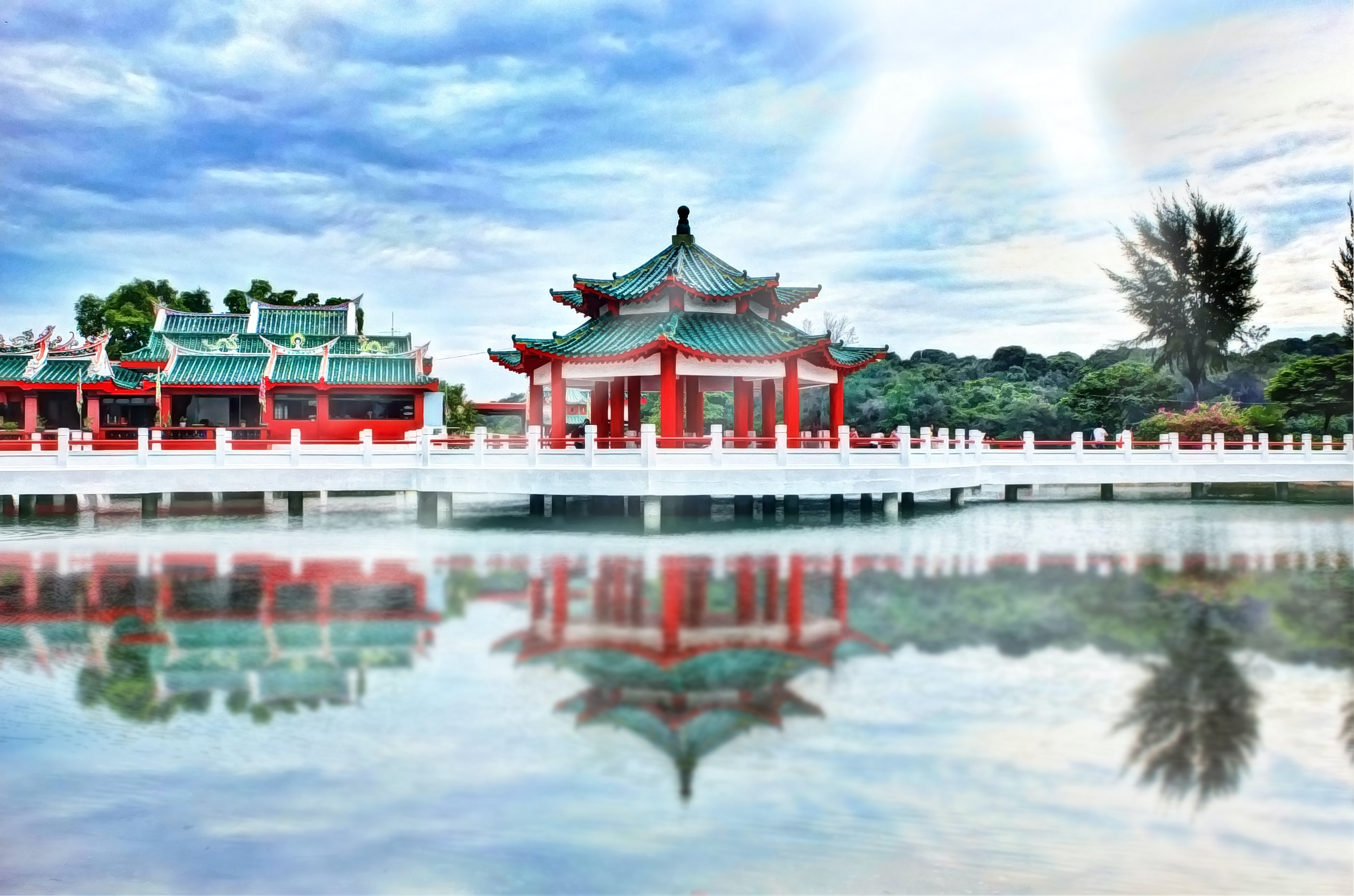 Chinese temple near calm body of water