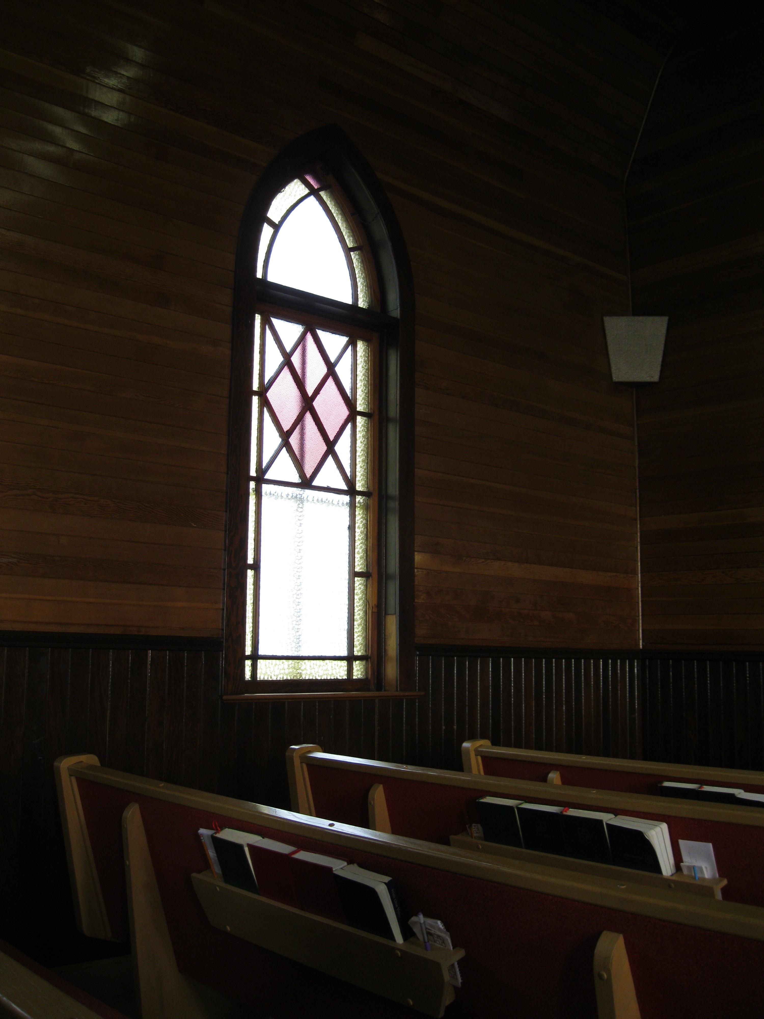 church interior with glass windows