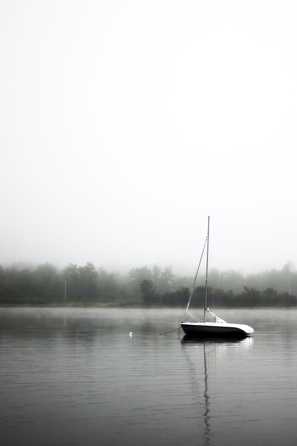 black and white boat on lake