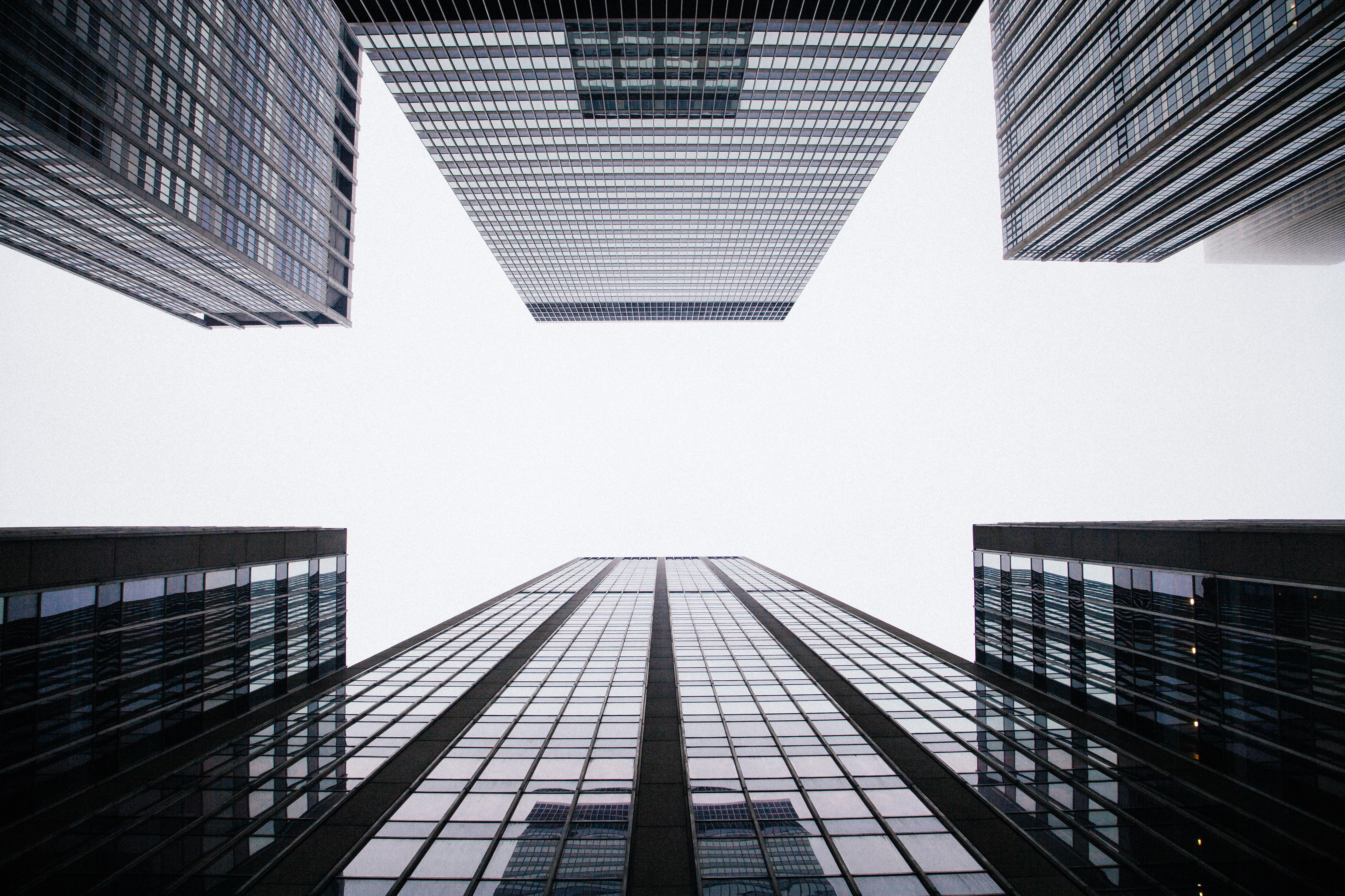 worm's eye view of buildings