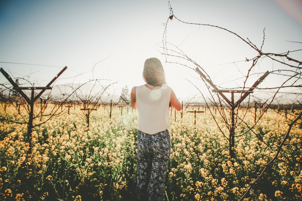 woman standing on ground and surrounded by flowers