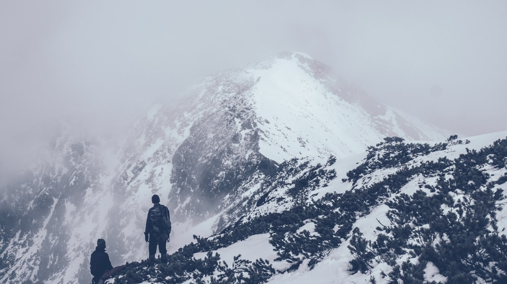people standing on top of mountain