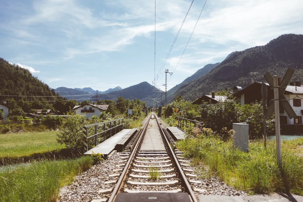 gray and black train track