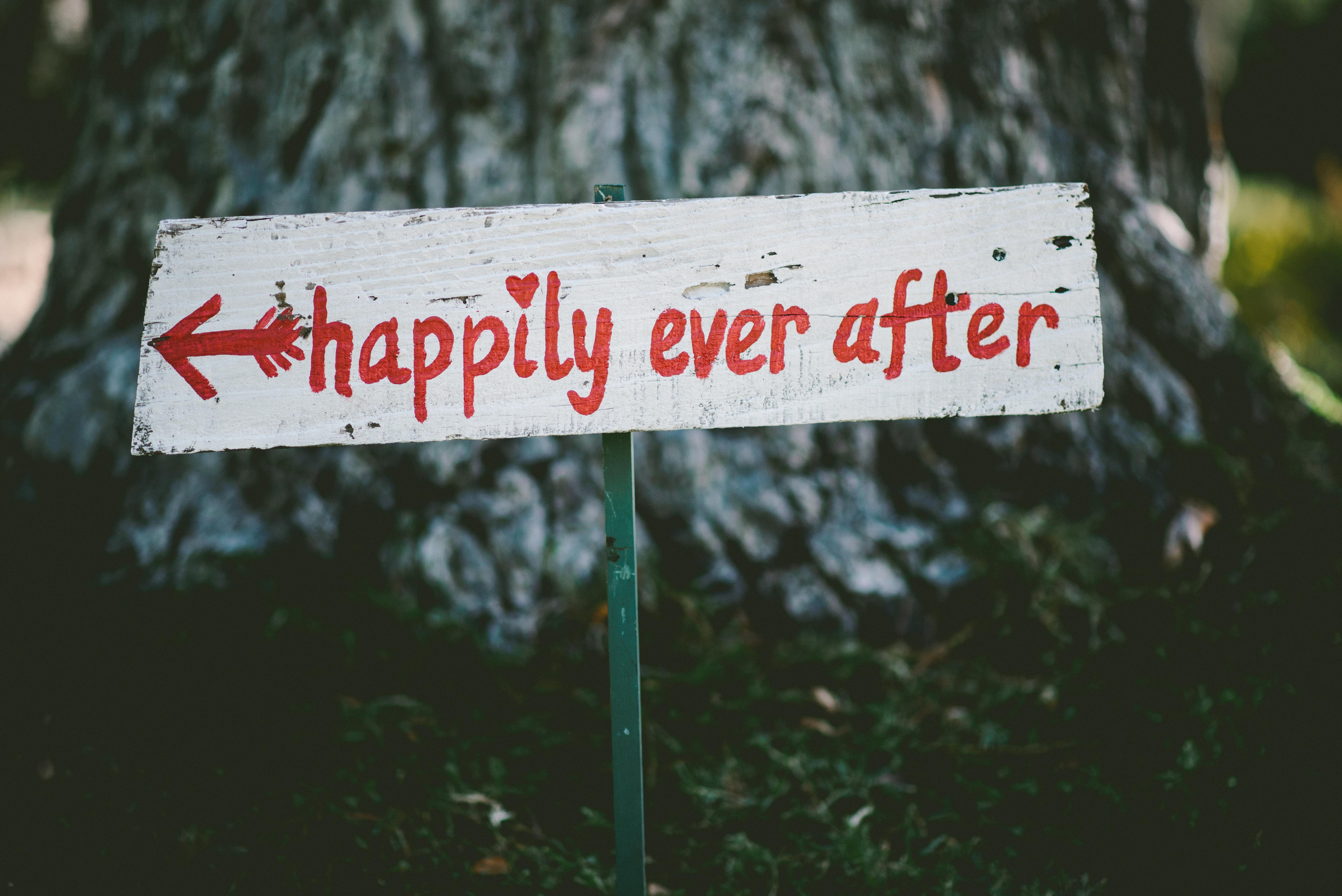 "A handpainted sign reads ""Happily ever after"""