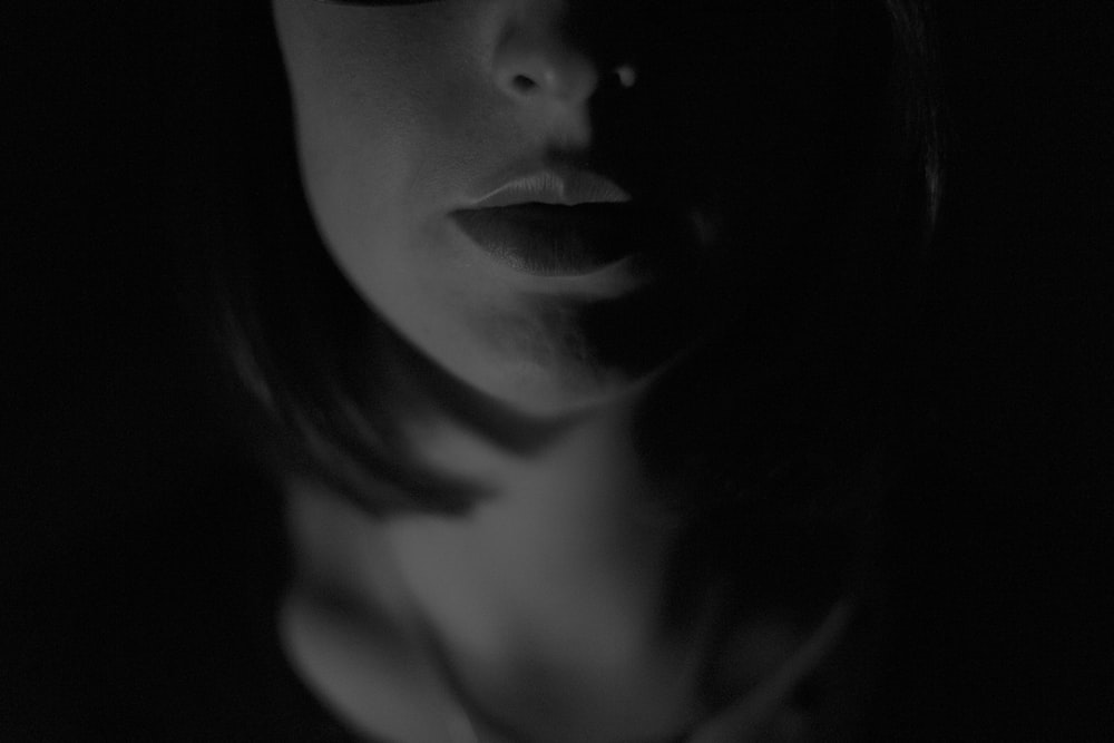 woman face grayscale photography
