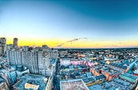 Shot from the top of the Hotel Monteleone at Sunset in New Orleans. This is looking towards Bourbon Street. It was shot during my Honeymoon there.