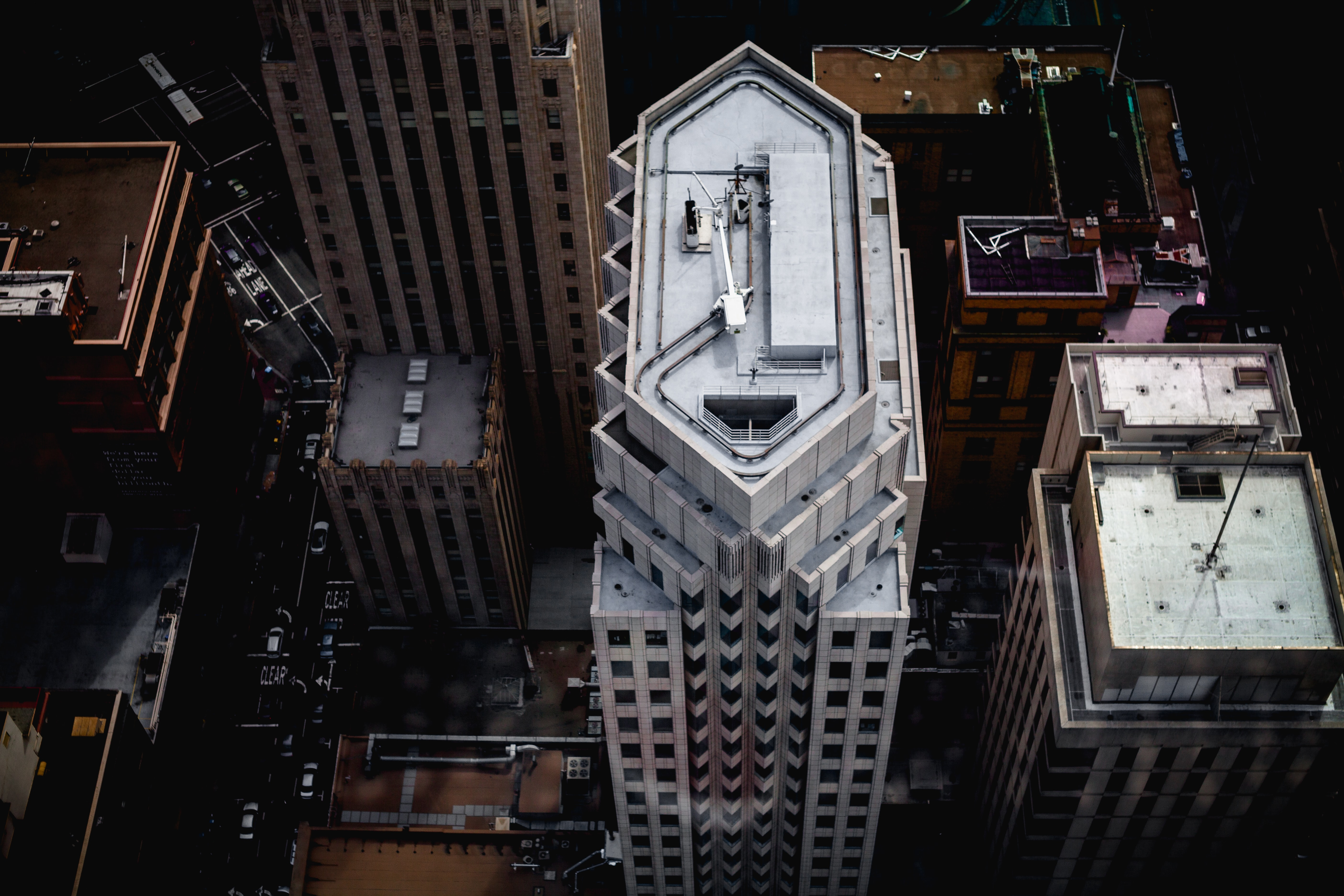 Aerial drone shot of a city skyscraper downtown