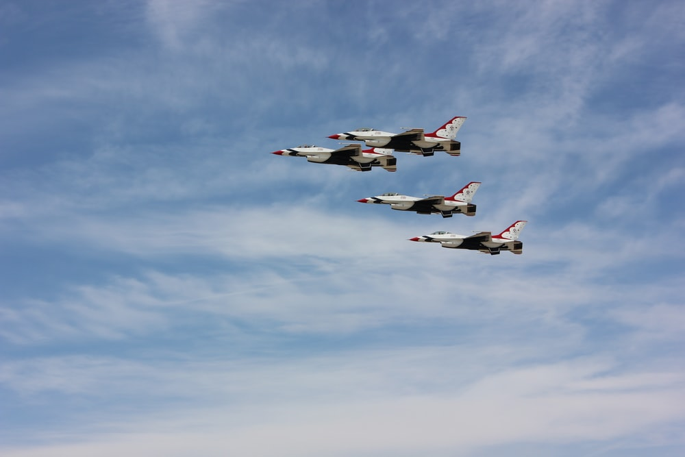 four fighting planes