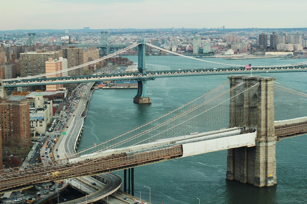 aerial photography of Brooklyn Bridge New York